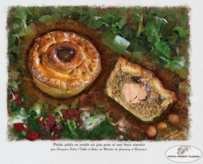 Petits pâtés en croûte au foie gras et aux trois viandes
