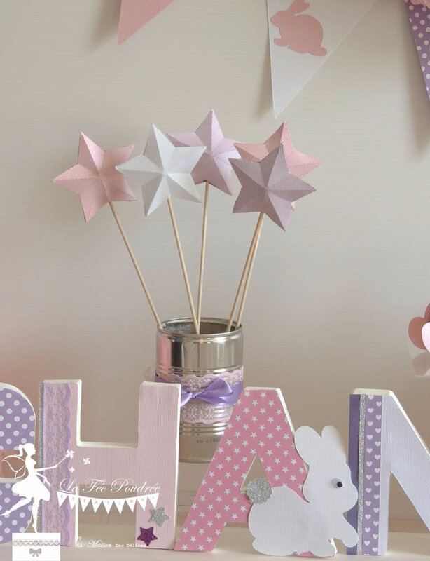 pic etoile decoration bapteme lettre decoree theme lapin rose mauve