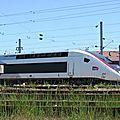Alstom : sortie rame euroduplex livrée ''carmillon'' (gare de belfort)