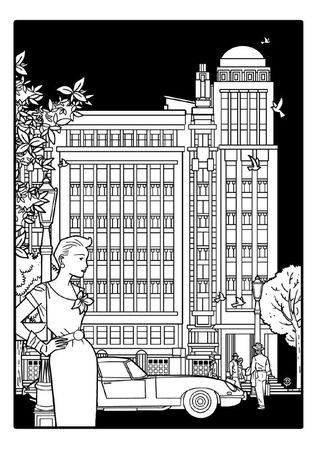 Delius dessinateur dessin noir et blanc Antoine COURTENS Palais folle chanson BRUXELLES