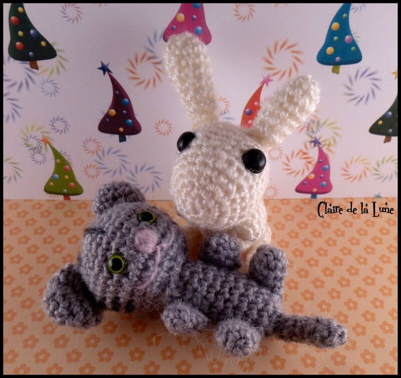 Lapin et chat origami broches