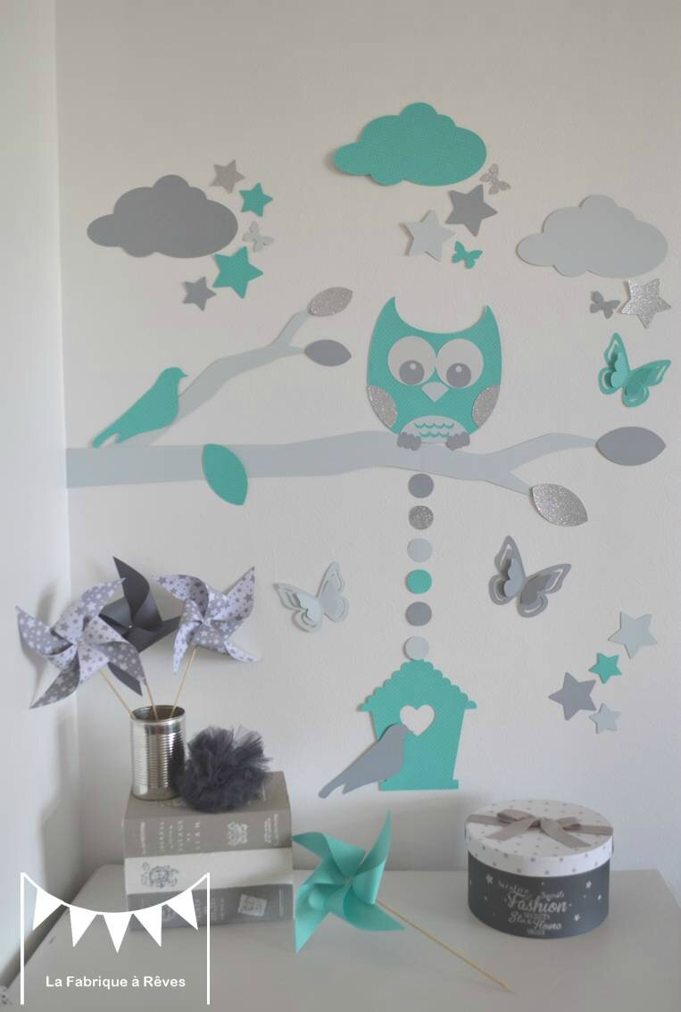 d coration et linge de lit b b turquoise gris et p trole hibou chouette et toiles gigoteuse. Black Bedroom Furniture Sets. Home Design Ideas
