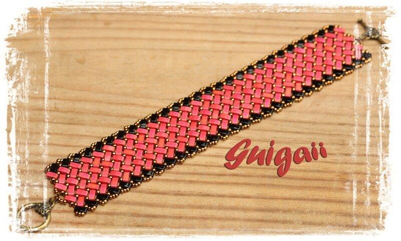 n°256 Bracelet Azteca rouge_noir