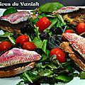 Salade de rougets sur toast de tapenade