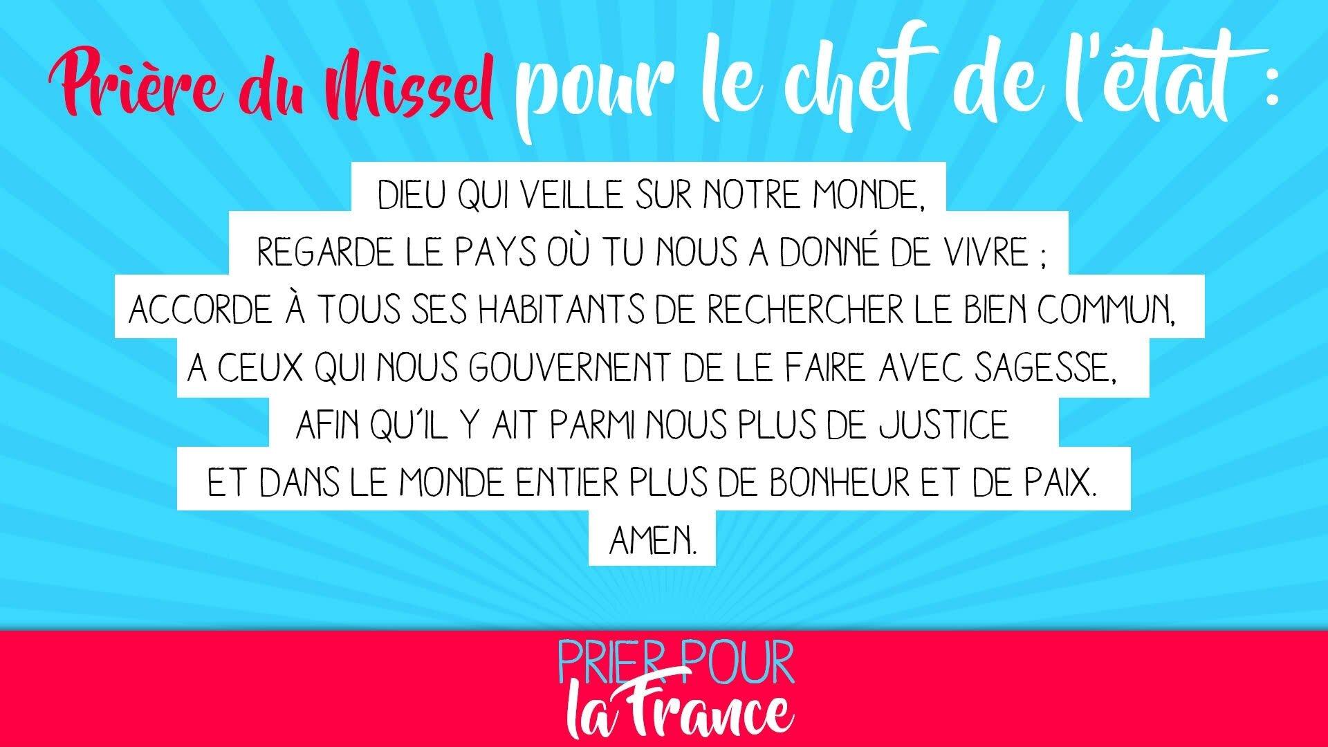 PRIÈRE POUR LA FRANCE & POUR LE CHEF DE L'ÉTAT