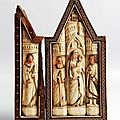 Retable domestique en forme de triptyque. Atelier des Ambriachi, Florence ou Venise. Vers 1400