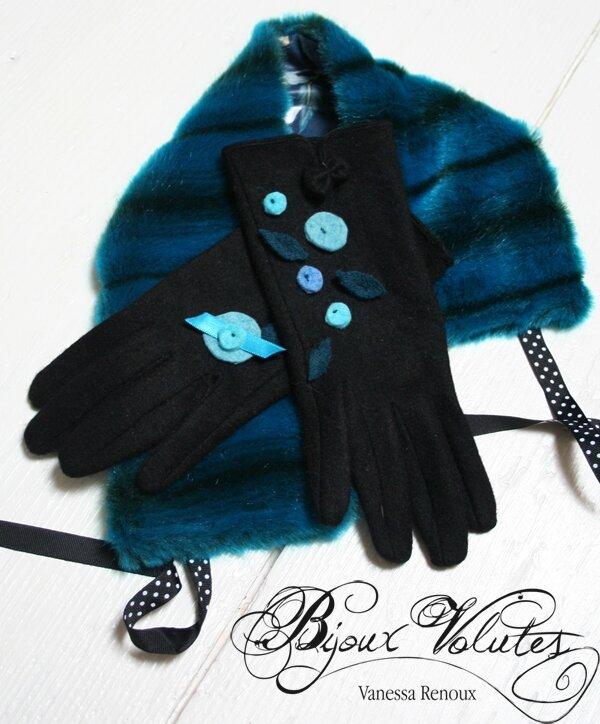 gants fantaisie en laine pour femme l gante gants noir et d cor feuilles et pois bleu. Black Bedroom Furniture Sets. Home Design Ideas