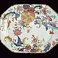A rare tobacco leaf decorated porcelain exportation plate, qianlong period (1736-1795)