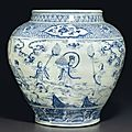 A large blue and white 'windswept' jar, guan, ming dynasty, mid-15th century