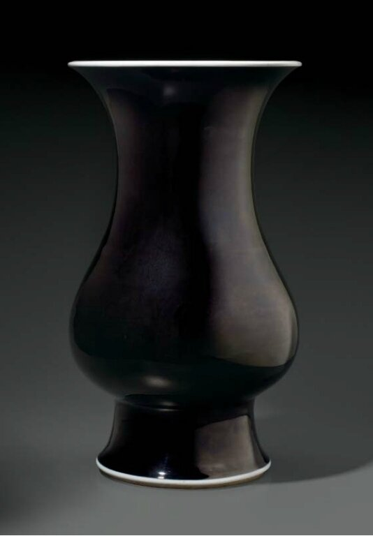 A mirror-black glazed pear-shaped vase, China, Qing dynasty, Kangxi period (1662-1722)