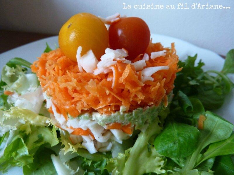 Salade surimi carottes avocat la cuisine au fil d 39 ariane for Salade entree originale