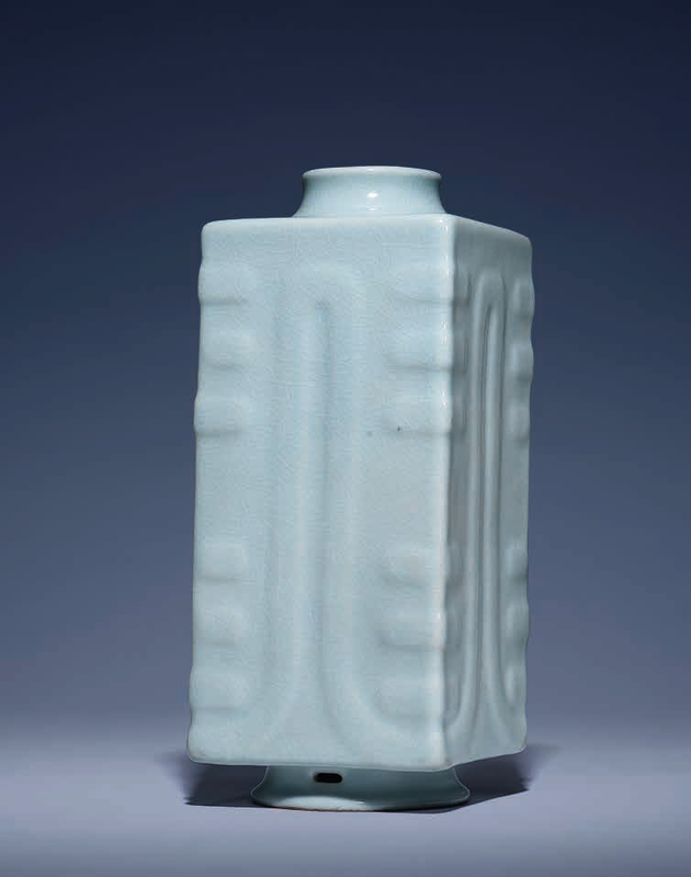 A very rare ru-type glazedcong-form vase, Qianlong six-character seal mark in underglaze blue and of the period (1736-1795)