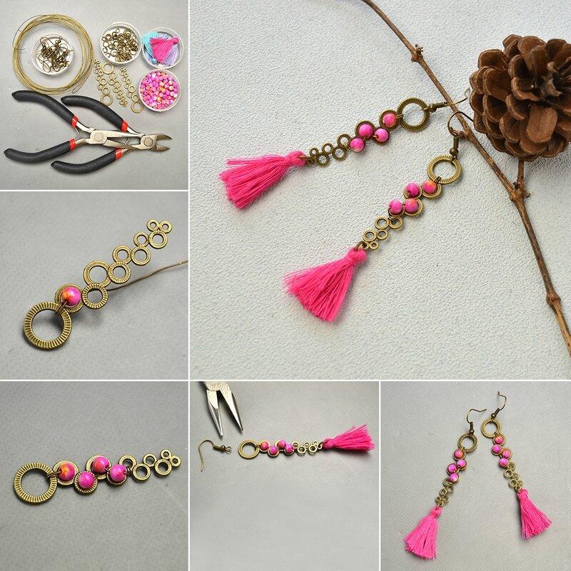 1080-How-to-Make-Hot-Pink-Jade-Bead-Vintage-Earrings