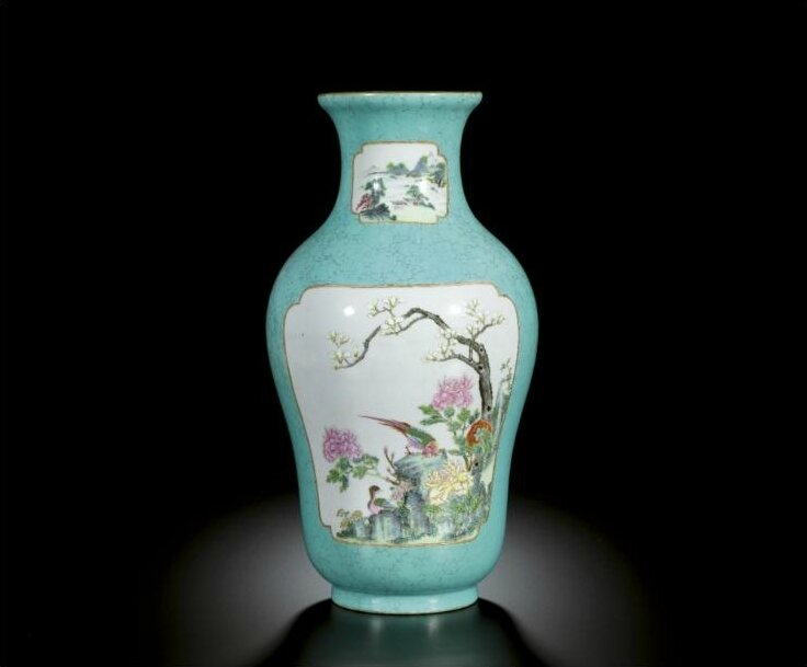 A rare 'famille-rose' turquoise-ground vase, seal mark and period of Qianlong (1736-1795)