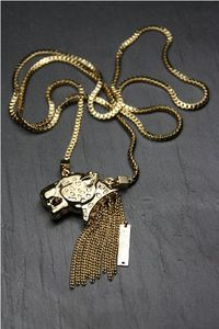 Collier leopard long or