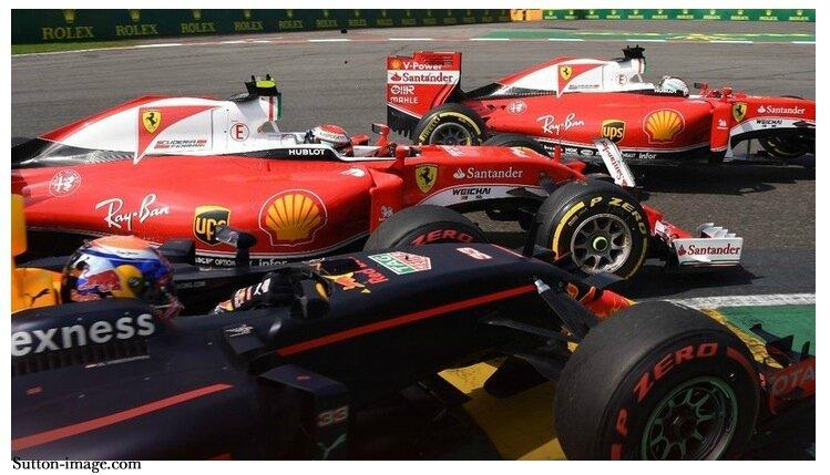 016-Spa Francorchamps-SF16-H-Vettel_Raikkonen et Verstappen-depart