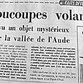 7 au 14 janvier 1963 : ovnis dans l'aude et à perpignan, crash d'un constellation, création d'un centre de tir spatial à leucate