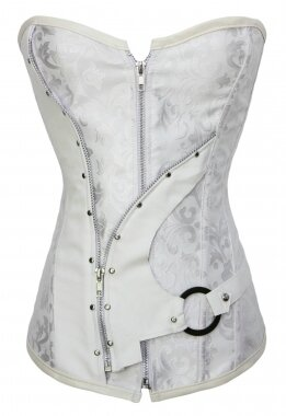 White-Steel-Bone-Brocade-Steampunk-Corset-Set-LC5376-1