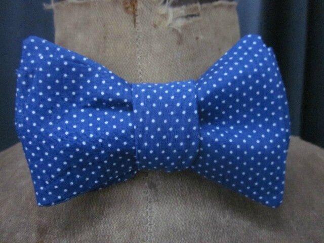 Véritable NOEUD PAPillon en coton bleu à points blancs (3)