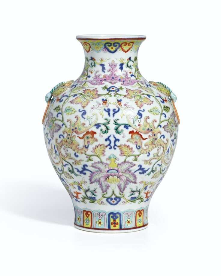 An extremely rare and finely enamelled famille-rose 'Phoenix' vase, seal mark and period of Qianlong