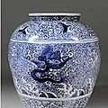 "Large chinese blue and white porcelain ""dragon"" jar, wanli period (1573-1619)"
