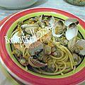 Coques des grandes marées automnales aux spaghettis basilic et parmesan