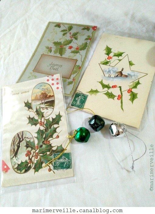 sélection cartes anciennes thème houx - Noël 2017 - Marimerveille