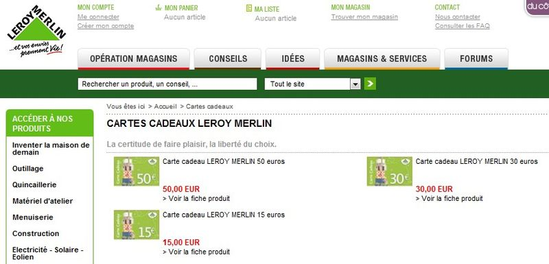 carte cadeau leroy merlin vendue en ligne le blog des cartes cadeaux. Black Bedroom Furniture Sets. Home Design Ideas