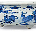 A blue and white 'Deer and pine' censer, Kangxi period (1662-1722)