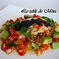Saumon sauce chimichurri et harenga (perles de harengs )