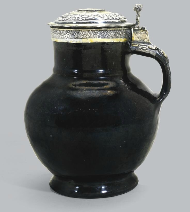 A rare Tudor silver and parcel-gilt mounted 'Malling' jug, unmarked, circa 1550