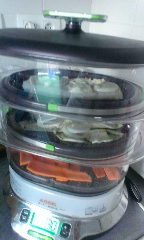 Dos de cabillaud et légumes à la vapeur à la sauce au 1