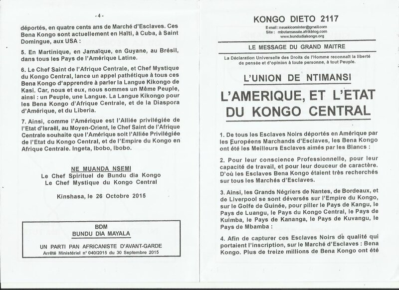 L'AMERIQUE ET L'ETAT DU KONGO CENTRAL a