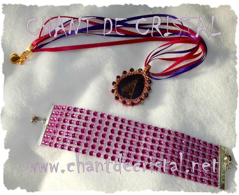 collier agate druzy et barcelet strassé rose