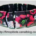 Bracelet coquelicots et fleurs blanches