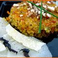 Croquettes de boulgour aux carottes et carpaccio de navets