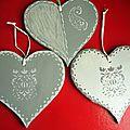 coeurs grisés pochoir 14X14