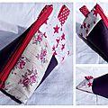50. simili violet et cotons fleurs et étoiles - effet patchwork