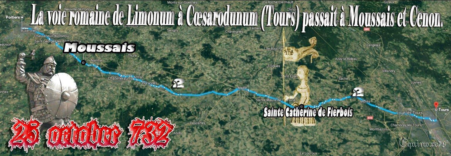 La voie romaine de Limonum (Poitiers) à Cœsarodunum, la bataille de Charles Martel