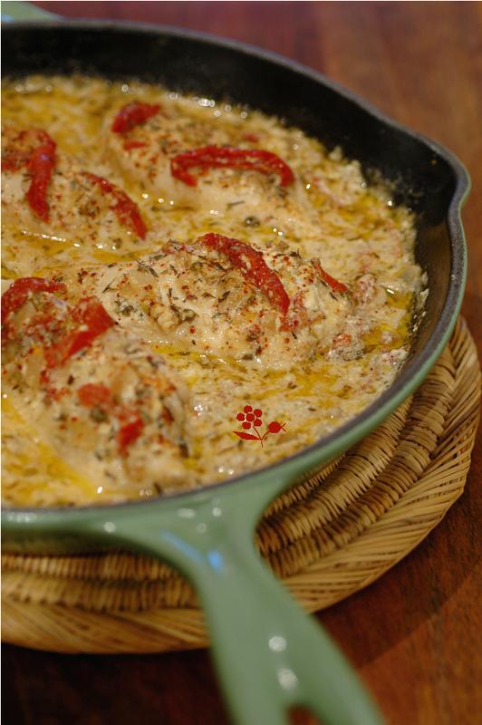 Poêlée de poulet aux tomates séchées & parmesan