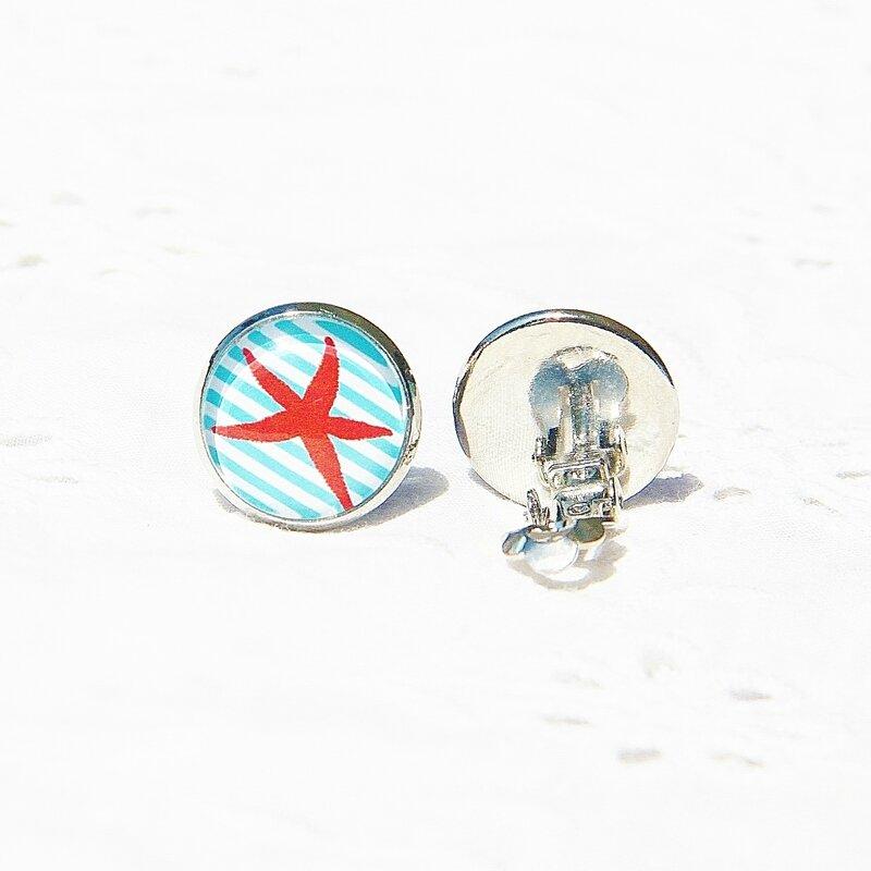 alisée 6 boucles d'oreilles clip 14 mm bord de mer etoile de mermeduse rouge fond rayé bleu blanc argentées @louiseindigo (4)