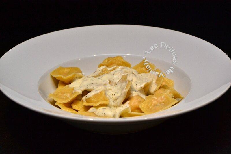 raviolis saumon mascarpone, sauce mascarpone citronnée, aneth
