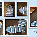 Chaussettes tricotées bleues