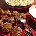 Boulettes d'agneau, sauce yaourt, couscous agrumes & grenade