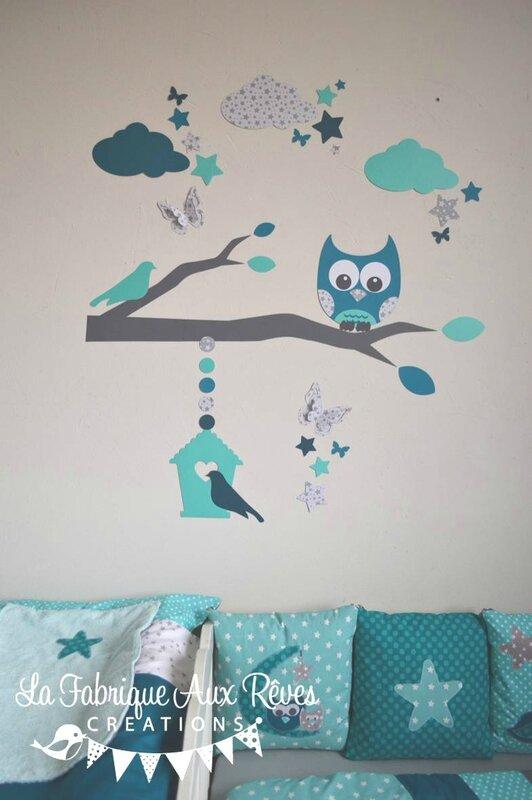 stickers hibou chouette décoration chambre enfant bébé garçon étoiles pétrole turquoise caraïbe gris 2