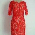 2511/ robe en dentelle rouge tangerine du designer lover taille s