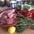 Lapin aux poivrons rouges et à la polenta (italie)