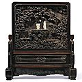 An imperial jade-inlaid carved zitan 'scholar' table screen, qing dynasty, qianlong period (1736-1795)