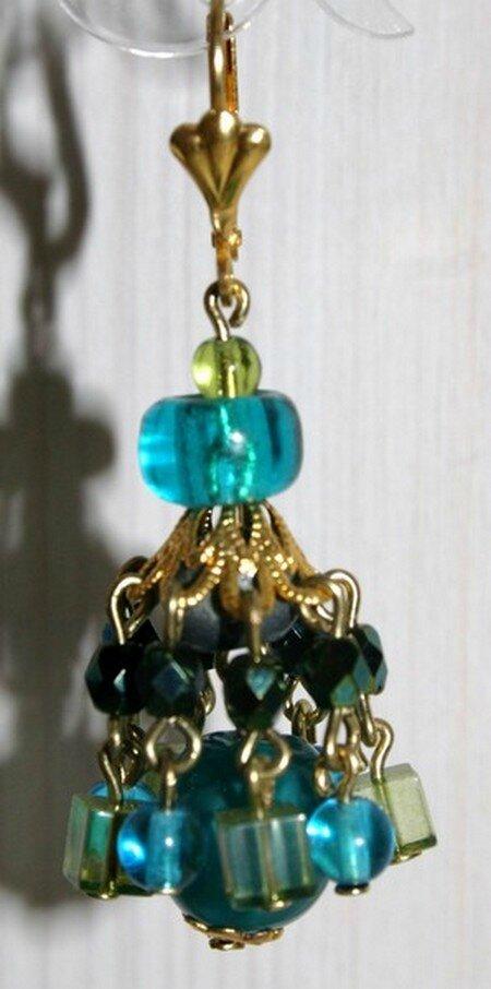 Boucles d'oreilles percées en perles de verre