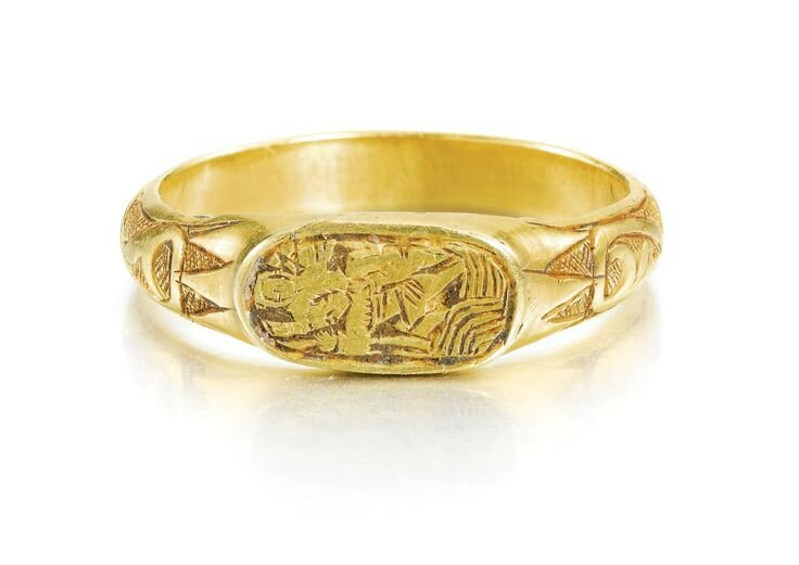 English, circa 1500, Iconographic ring with Saint Christopher